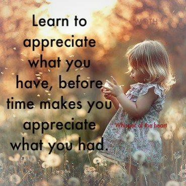 Appreciate What You Have Appreciate what you have