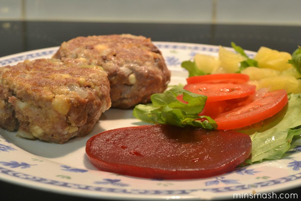 Lamb & Feta Rissoles Cooked