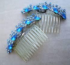Blue Rhinestone Hair Comb