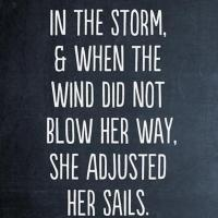 She stood in the storm, & when the wind did not blow her way, she adjusted her sails