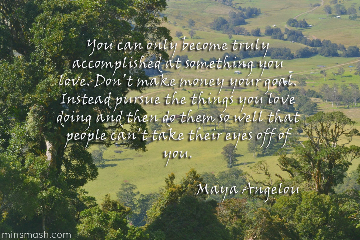quote, maya angelou, pursue the things you love