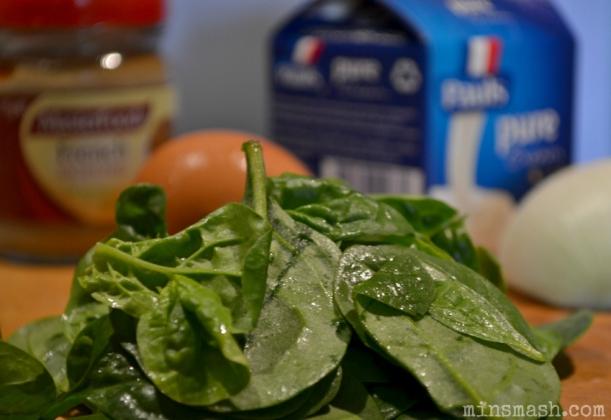 spinach, egg, cream, mustard, onion