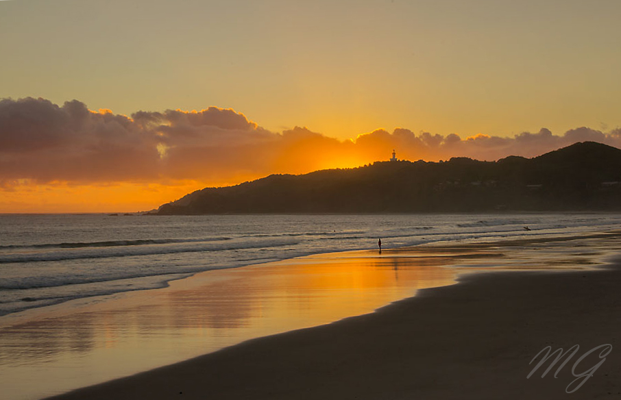 sunrise, beach, byron bay, australia, nsw