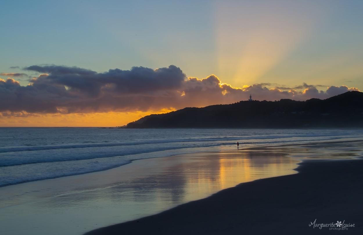 sunrise, byron bay, beach, australia